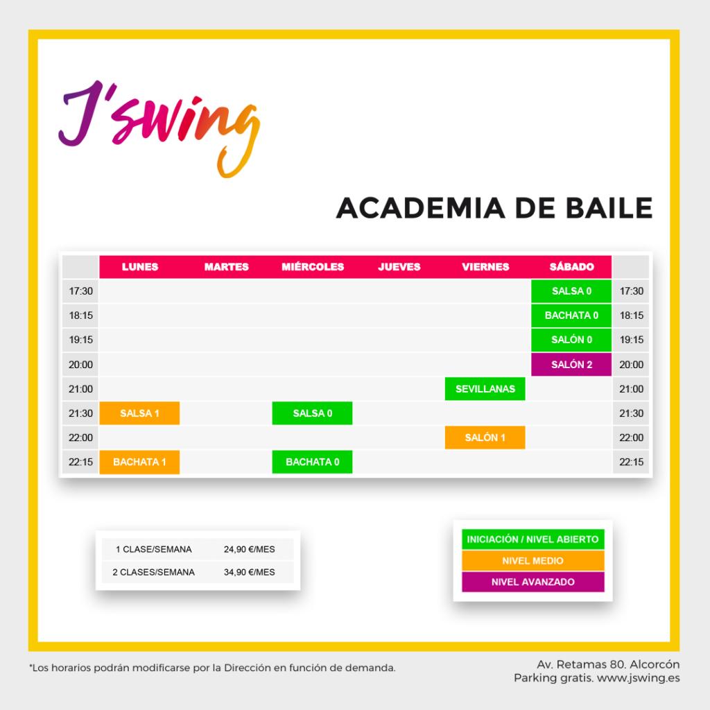 Horario de clases de baile en J´swing Alcorcón